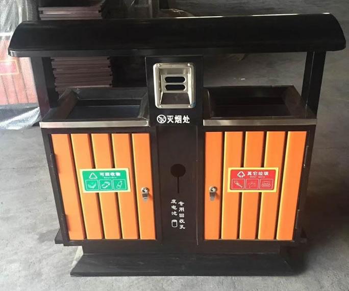 钢木垃圾箱JM-gm05