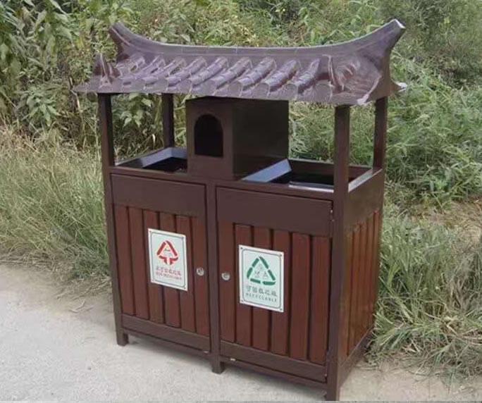 钢木垃圾箱JM-gm06