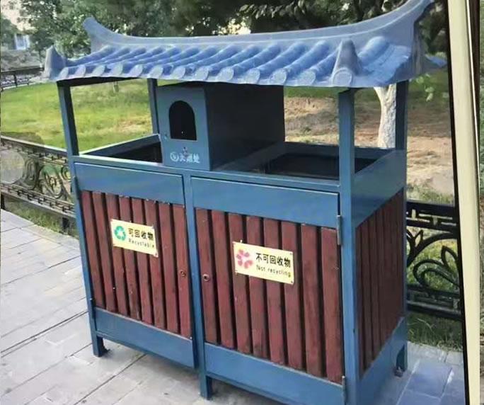 钢木垃圾箱JM-gm07